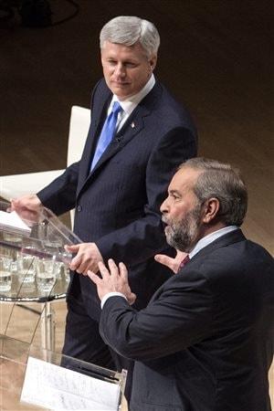 Stephen Harper et Thomas Mulcair lors du débat Munk