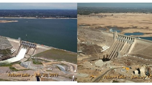 Folsom Lake reservoir north of Sacramento California in Jan 2011, and again in July 2014