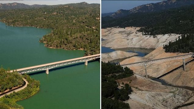 The Enterpirse Bridge across Lake Oroville in California shown in 2011 and then in 2014.