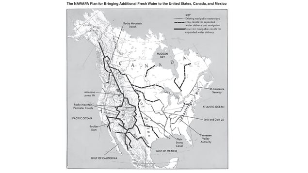 The North American Water and Power Alliance, proposed in the 1950's was proposed to divert massive amounts of water from Canadian rivers flowing to the Arctic and Alaska, and send the ma south.It is still very much alive with detaled proposals/analysis made in 2010 and 2012
