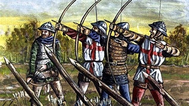 English archers at Agincourt. The speed and accuracy of the archers helped Henry V overcome the vastly larger French army at Agincourt 600 years ago.