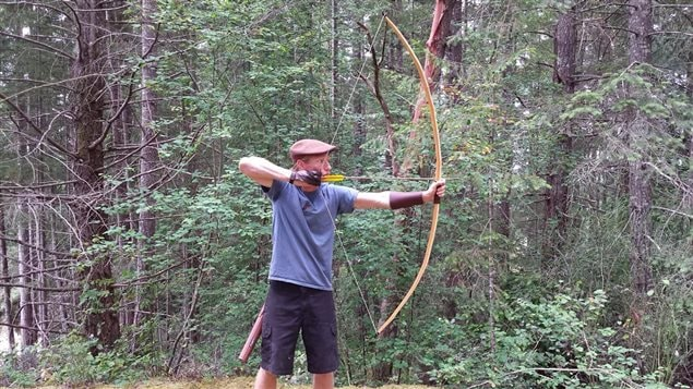 The legendary English longbow of Yew-wood showing its size of about 6feet , The longbow helped the outnumbered English defeat the French at Agincourt on St Crispi's Day, October 25th 1415