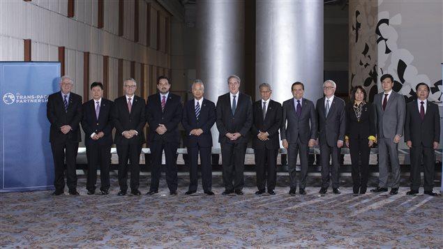Les 12 ministres du Commerce international des pays du Partenariat transpacifique.