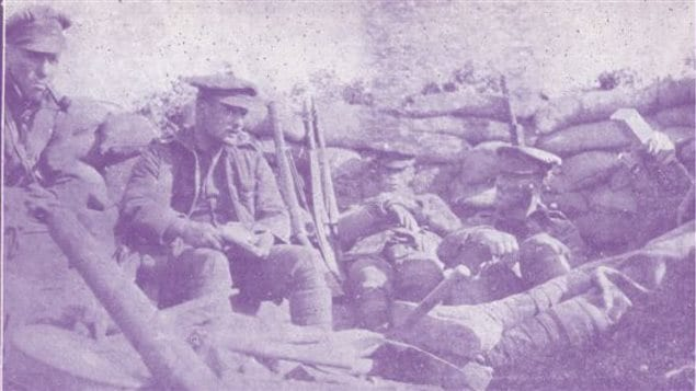 The only known photo taken of Caribou Hill during the occupation. Newfoundland soldiers man the post. The taking of the strategic hill, although a  skirmish in the overall campaign, resulted in four medals for the Regiment