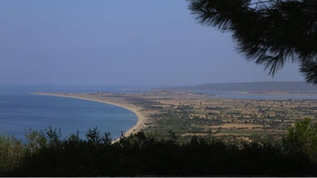 A view of Suvla Bay from Walker's Ridge in Anzac Cove.