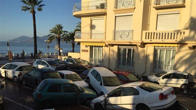 La ville de Cannes, en France, après les violentes intempéries de la fin de semaine