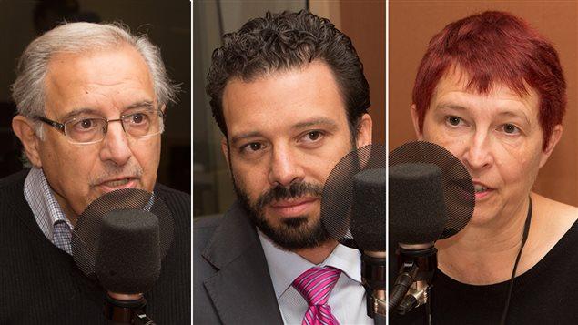 Le sociologue Rachad Antonius, Haroun Bouazzi, d'AMAL-Québec et Pascale Chanoux, de la Table de concertation des organismes au service des personnes réfugiées et immigrantes