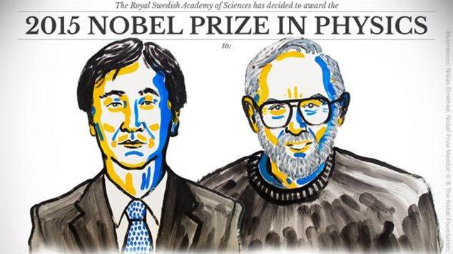 Le Japonais Takaaki Kajita et le Canadien Arthur B. McDonald ont été récompensés du prix Nobel de physique, mardi 6 octobre, pour leurs travaux sur les neutrinos, des particules élémentaires. JONATHAN NACKSTRAND / AFP