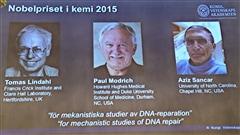 Les trois récipiendaires du prix Nobel de Chimie 2015.