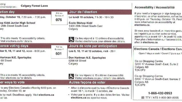 Carte d'information reçue par certains électeurs de la circonscription de Forest Lawn