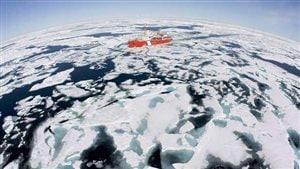 The Canadian Coast Guard icebreaker Louis S. St-Laurent makes its way through the ice in Baffin Bay in July 2008.