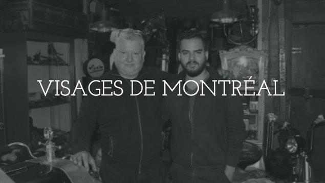 Juan Henriquez Menores et son fils dans son garage à Pointe-Saint-Charles