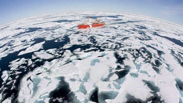 The Canadian Coast Guard icebreaker Louis S. St-Laurent makes its way through the ice in Baffin Bay in July 2008. A new study shows that ice conditions in the Northwest Passage are still highly unpredictable making it unreliable and ptentially unsafe as a commercial shippping route