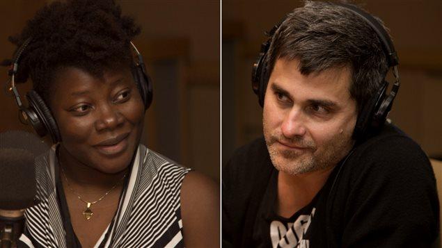 Marie-Louise Bibish Mumbu, journaliste et écrivaine, et Philippe Ducros, dramaturge et metteur en scène