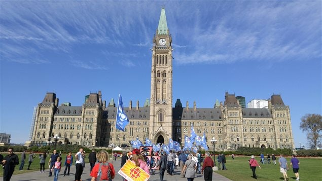 "Today is a national ""thanksgiving"" holiday in Canada. The weather was perfect on Parliament Hill in Ottawa as marchers and supporters gathered in support of maintaining Canada's national public broadcaster and restoring adequate funding for its operation."