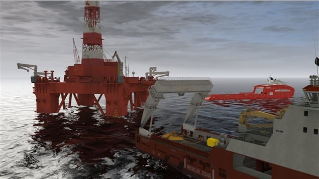 Computer generati image of typical offshore supply ship and oil rig setting the heavy anchors for the rig. The Memorial University Maritme institute simulator trains to pilot these vessels in what is often very tricky situations on the high seas.