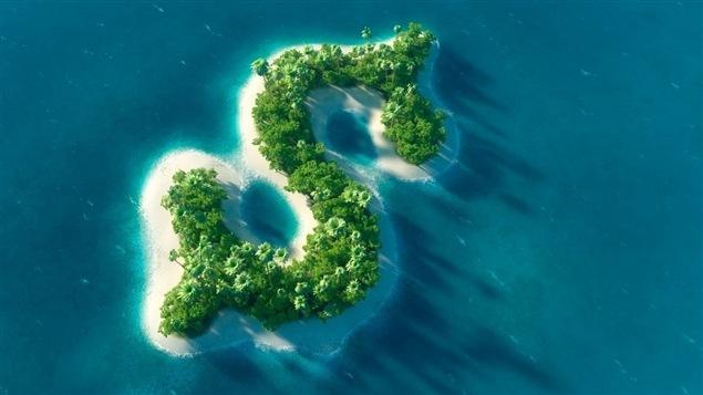 Une île en forme du symbole du dollar.