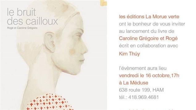 Affiche du lancement du livre «Le bruit des cailloux»