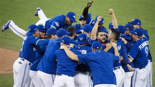 The Jays have won one series. There's still two to go. We see the boys in their uniforms of blue tops and white pants leaping all over each other on the pitcher's mound following Wednesday's win.