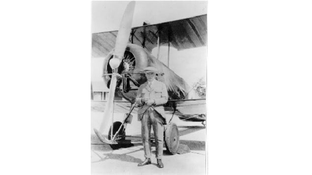 W.R. Turnbull with the variable-pitch propeller he invented. Camp Borden, Ontario, Spring 1927.