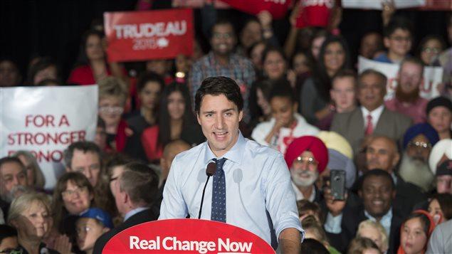 Justin Trudeau en campaña en Edmonton.