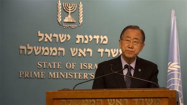 Le secrétaire général de l'ONU, Ban Ki-moon, lors d'une conférence de presse lundi à Jérusalem