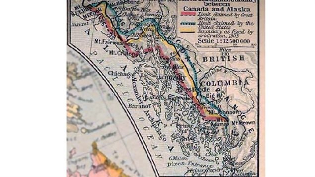 A portion of a map published in 1926 showing the various claims to land along the west Coast. The final decision prevented Canada from having access to the ocean.