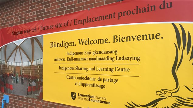 Pancarte du Centre autochtone à l'université Laurentienne