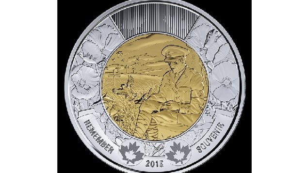 The newly minted commemorate $2 coin showing Lt Col McCrae sitting and writing the poem with poppies blooming beside him and larks in the sky above