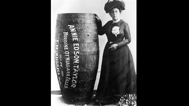 The first person and first woman to go over the Falls in a barrel and survive. This is likely the original barrel, which clearly shows the manager's name, the same who later absconded with the barrel.