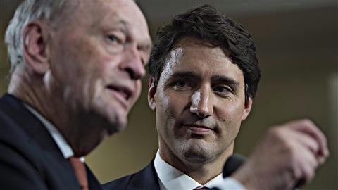Jean Chrétien et le chef du nouveau gouvernement libéral du Canada, Justin Trudeau.
