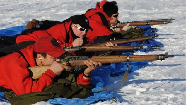 Members of the Canadian Rangers from Fort Resolution, N.W.T., fire their Lee-Enfield rifles. The Second World War era rifle is being replaced with a newer rifle being made by Colt Canada. Although old, the WWII rifles have lasted due to their reliability in extreme cold weather.