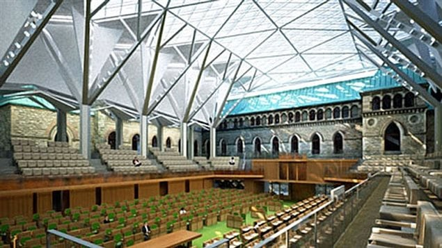 Illustration of the $42 millioni temporary chamber for the House of Commons with a glass roof over the courtyard of the West Block. MP