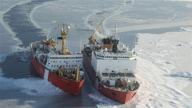 The Canadian Guard Ship Louis S. St-Laurent maneuvers into position to moor up with the U.S. Coast Guard Cutter Healy during a cooperative science mission to the Arctic Ocean between the U.S. and Canada, Sept. 25, 2008.