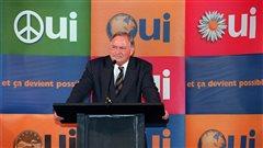 Jacques Parizeau s'adresse à des gens d'affaires, à Montmagny, le 3 octobre 1995.