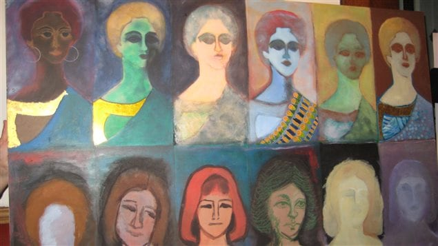 This painting by a former refugee depicts the importance of the rights of women newly-arrived in Canada.