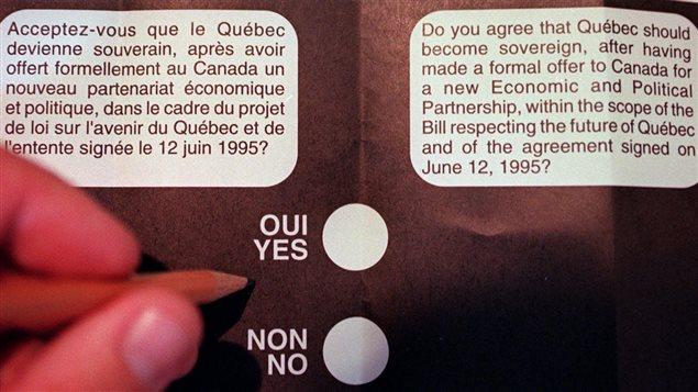 La question à laquelle plus de 93 % des Québécois ont répondu le 30 octobre 1995.