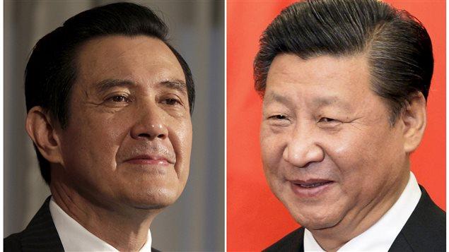 De gauche à droite : les présidents taiwanais Ma Ying-jeou et chinois Xi Jinping