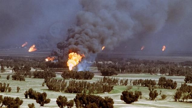Hundreds of oil wells and burning lakes and trenches of oil were ignited by retreating Iraqi forces, blackening the skies as millions of berrels of oil and trillionof metres of gas were burned every day.