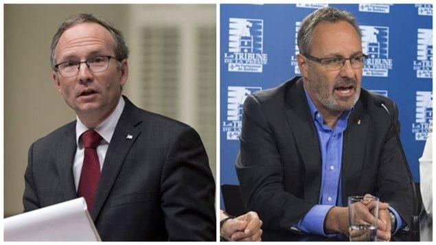 Martin Coiteux (Conseil du Trésor) et Daniel Boyer (FTQ)