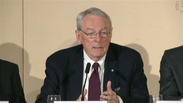 WADA special Commission head, Dick Pound at a news conference today