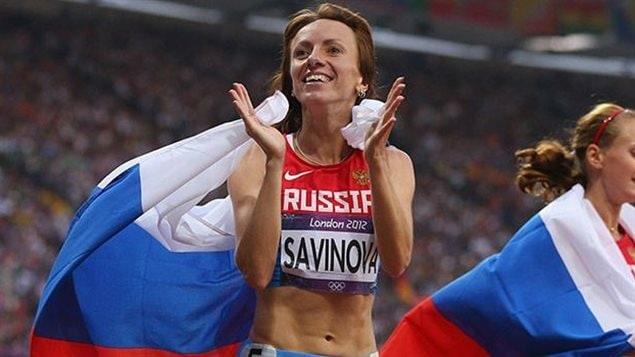 L'athlète russe Mariya Savinova qui a remporté la médaille d'or aux JO de Londres en 2012 est une des 5 athlètes russes accusées de dopage.