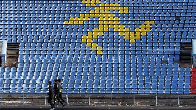 Des athlètes russes s'entraînent dans un stade à Stavropol.