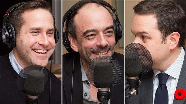 Le journaliste Jean-Philippe Cipriani, l'économiste Ianik Marcil et le journaliste spécialisé en économie Gérald Fillion