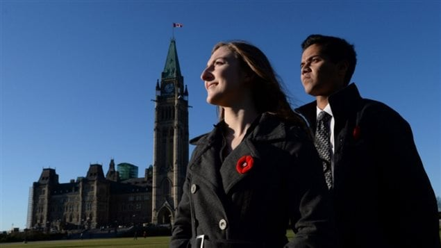 Grade 12 students Kathleen Pick and Aman Srivastava of John McCrae Secondary School in Barhaven, Ont. They will be among 100,000 students reciting the poem In Flanders Fields on Remembrance Day as part of an initiative by the Vimy Foundation. It is the centennial of the poem,