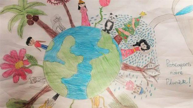 Dessin de Clara, 11 ans, pour le projet de Jean Lemire : Dessine la terre