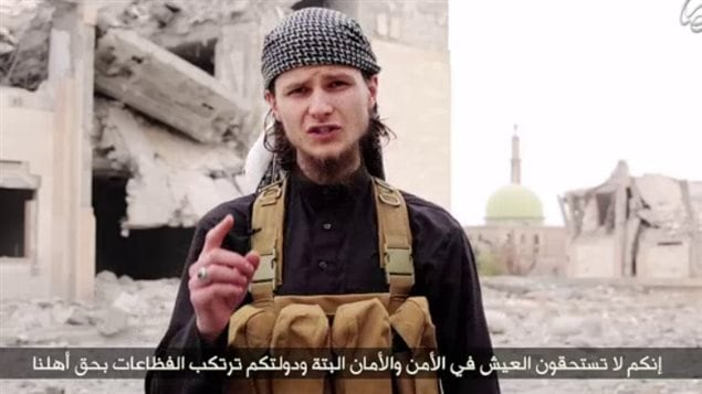 A screengrab from ISIS propaganda video showing John Maguire, a former University of Ottawa student.