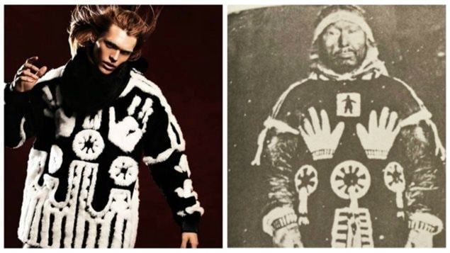 KTZ has apologized for using a sacred Inuit design in their high-end sweater. (KTZ website / Kieran Oudshoorn/CBC (from book Northern Voices))