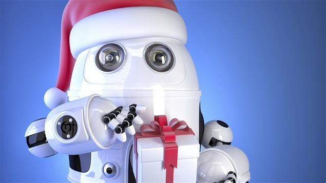Un robot qui offre un cadeau pour Noël.