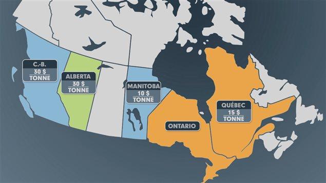 Plusieurs provinces canadiennes, une sur cinq, pénalisent maintenant les émissions de carbone ou sont en voie de le faire.